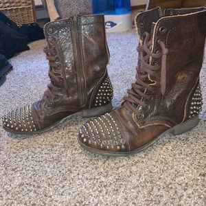 Steve Madden Leather Studded Combat Boots